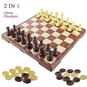 """Fixget 2 en 1 juego de ajedrez-12 """"x12"""" Ajedrez de madera y damas conjunto con portátiles plegables de almacenamiento de viaje de ajedrez tablero de juego"""