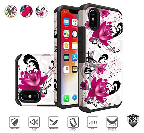 - Apple iPhone XR Case (2018) for Women, Premium Rubberized Flower Floral Butterfly Print Design Case [Hybrid] [Shockproof] TPU Hard Plastic Armor Defender Dual Layer (Purple Lily)