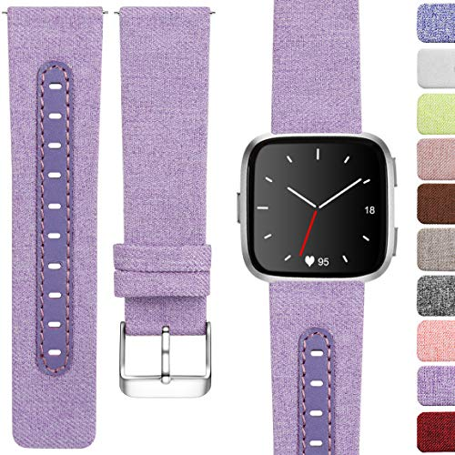 Maledan Compatible with Fitbit Versa Bands for Women Men, Small, Lavender ()
