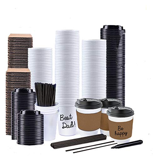 (Sugarman Creations12 Ounce White Disposable Paper Coffee Cups with Black Resealable Lids, Heat Resistant Sleeves, Plastic Stirrers and Black Permanent Marker for Labeling (65))