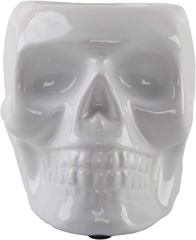 Flora Bunda 4.5 Inch Ceramic Sugar Skull Planter, White
