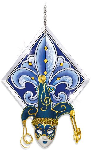 Amia 41110 Fleur-de-Lis Sun Catcher with Mask, 4-1/2 by 6-1/2-Inch, Blue and Silver with Full Mask
