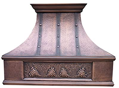 Antique Copper Oven Range Hood with Commercial Grade Stainless Steel Vent , Includes Lighting, Fan Motor, Baffle Filter, Tuscan Design with Hammered Texture and Grape Patterm Wall Mount 48 x 36 inches