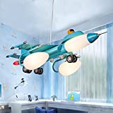 Aircraft lights children's room lights boys bedroom lights bedroom lights cartoon children's iron glass lamps ( Color : B )