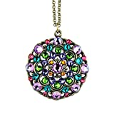 Anne Koplik Sparking Round Multi-Color Swarovski Crystal Pendant Necklace 4715