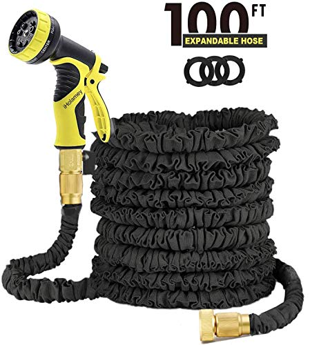Garden Water Hose 100FT Lightweight Expandable Hose Triple Layer Latex Core Magic Flexible Expanding Hose with 3/4Inch Solid Brass Ends and Nozzle for Outdoor Lawn Car Watering Plants (Black)