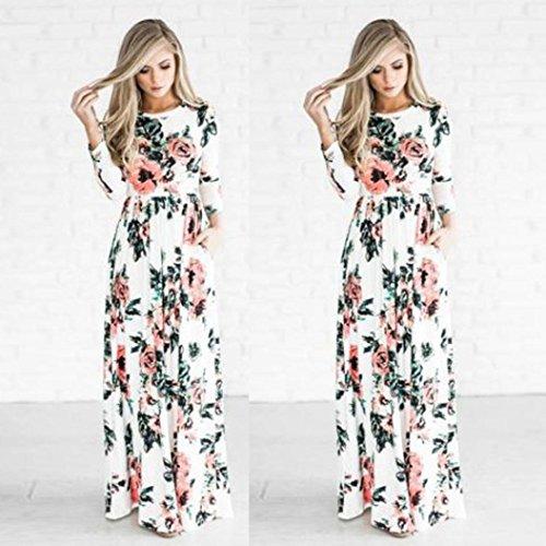vestidos de mujer,Switchali Mujer manga larga bohemio Traje de baño para mujer Verano moda floral Vestido de playa maxi atractivo ropa nuevo 2017 barato Blanco