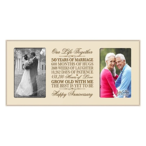 LifeSong Milestones 50th Anniversary Picture frame Gift 50th wedding anniversary with anniversary dates Golden Anniversary Gifts (Ivory)