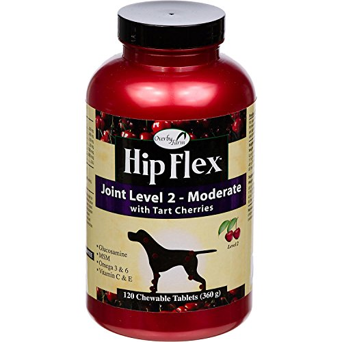 NaturVet Overby Farm Hip Flex Joint Level 2 Moderate Care with Tart Cherries for Dogs, 120 ct Chewable Tablets, Made in USA (Tablets 120 Dog)