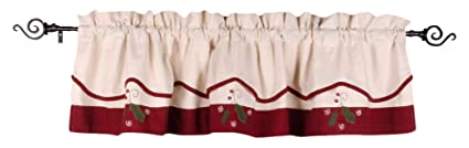 Home Collections by Raghu 72x15.5, Barn Red Peppermint Christmas Cream Fairfield Valance