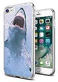 Shark Case for iPhone 8/iPhone 7,Gifun Anti-Slide Clear Soft TPU Premium Flexible Protective Case for Apple iPhone 8/iPhone 7 -Beautiful White Shark