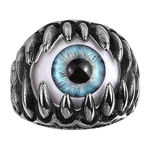 IVYRISE Crazy Blue Eyeball Punk Fashion Stainless Steel Silver Black Ring ()
