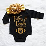 Baby Girl Clothes Tutus and Touchdowns bodysuit, Football shirt, New baby gift, Baby shower gift, baby girl gift, Football outfit, Glitter