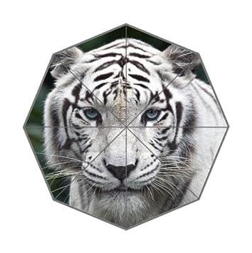 Moda Tigre Blanco fondo alta calidad resistente al viento resistente al agua de viaje compacto paraguas