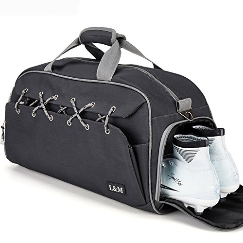 Flop Seat Premium Flip - Sport Gym Duffel Bag with Shoes Compartment Lightweight Travel Overnight Bag for Men and Women (Black)