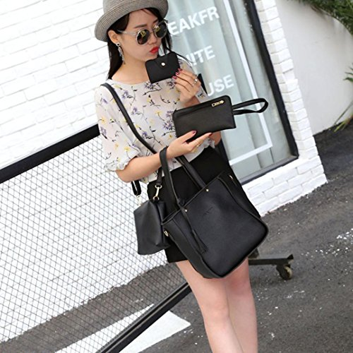 Pink Casual Womens Girls Solid Body Color Women 2 Ladies 2 Set Fashion Crossbody Clearance Shoulder Four Black Handbag Bag Leather Cross Bag BESTOPPEN Wallt Shoulder ZxFzPqw1
