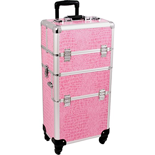SUNRISE Makeup Case on Wheels 2 in 1 I3561 Hair Stylist Professional, 3 Trays and 1 Removable Tray, Locking with 2 Mirrors, Brush Holder and Shoulder Strap, Pink Crocodile