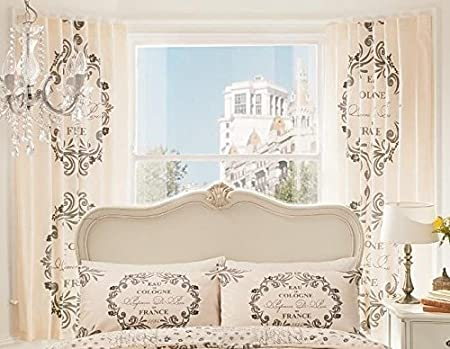 LUXURY PRINT BEDROOM CURTAINS SET 66quot X 72quot SCRIPT PARIS CHIC