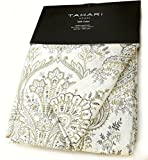 Tahari Home Sienna Paisley Window Panels 52 by 96-inch Set of 2 Floral Lattice Scrolls Window Curtains Hidden Tabs Charcoal Gray Taupe Gray White