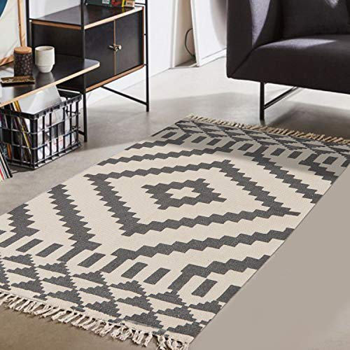 Moroccan Cotton Area Rug 3' x 5', KIMODE Washable Hand Woven Print Tassel Chic Modern Diamond Collection Rugs with Non-Slip Pads for Bathroom,Bedroom,Living Room,Laundry Room (Rug Modern Outdoor)