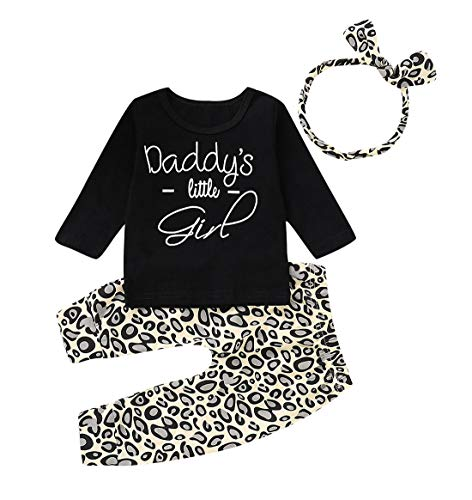 Inflant Baby Girl Leopard Outfit Long Sleeve Daddy's Girl Shirts Tops Long Pants Heaband Clothes (18-24 Months, Black)