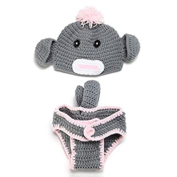 Amazon.com   Pandahall Crochet Grey with Pink Baby Sock Monkey Hat Diaper  Cover Costume Newborn Photo Prop   Baby a2b113ec8eb9