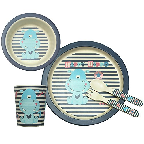 Bamboo Fiber Kids Dinner Ware 5pcs Less Melamine, BPA Free,FDA&LFGB Food Safety Approval,blue hippocampus inset.