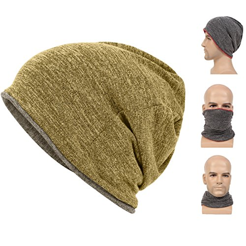 Maleroads Classic Plain Baggy Skull Cap Slouchy Beanie Fall/Winter Warm Hat Ear Warm Headband Reversible Neck Gaiter Tube Scarf Cycling Mask Bandana Ski headgear For Men Women (Reversible Hat)