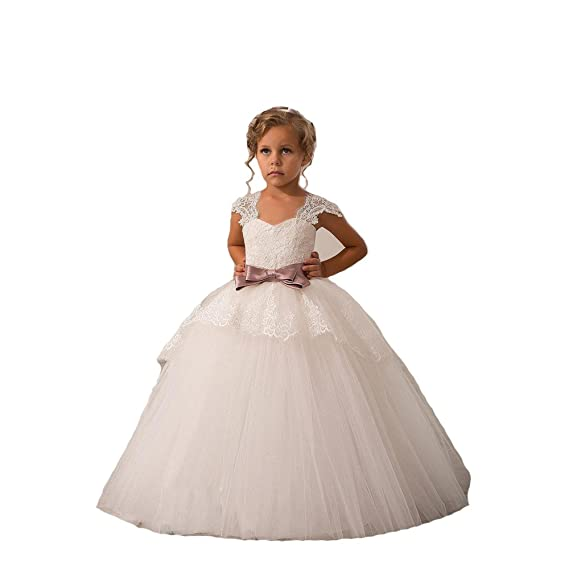 83ee843ead2 KekeHouse®Flower Girl Dresses for Wedding Lace Top Up Straps Dress for Girls  Applique Child Communion Dress Bowknot Kid Birthday Party Dress Ball Gown  Maxi  ...