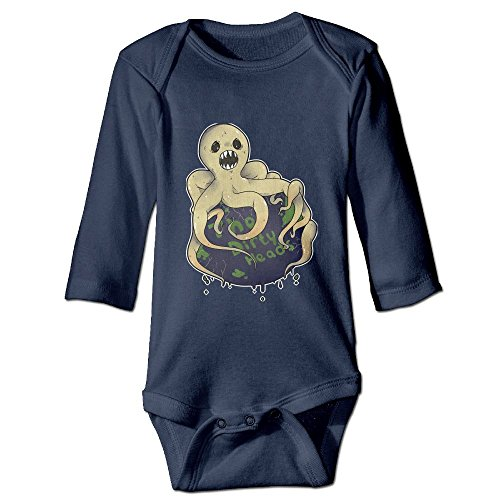 Funny Baby Boy Girl Dirty Heads Long Sleeve Bodysuits Romper Bodysuit Outfits Navy 6 M