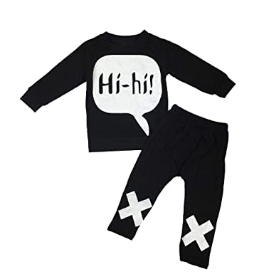 YanHoo Ropa Recién Nacidos Traje de otoño e Invierno Top de Manga Larga con Letras de bebé + Pantalones 2 Piezas de Mangas largas para niños pequeños bebés ...