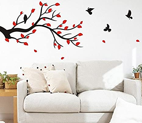 Buy Happy Walls Birds Flying From A Tree Branch With Red Leaves Black Stem Abstract Vector Art Hall Living Room Wall Sticker Decals 6905 Online At Low Prices In India Amazon In