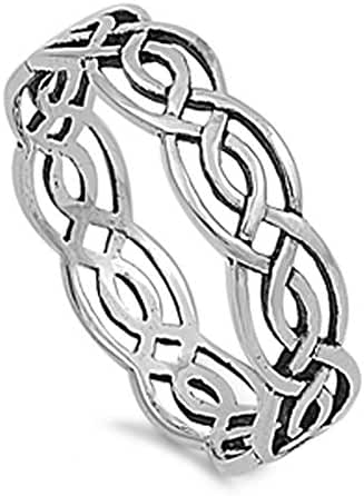 Wicca Weave Celtic Ring Sterling Silver 925 (Sizes 4-15)