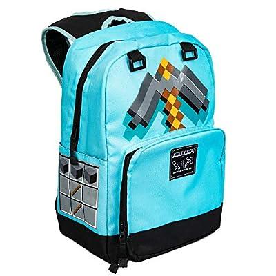"JINX Minecraft Pickaxe Adventure Kids School Backpack, Blue, 17"""