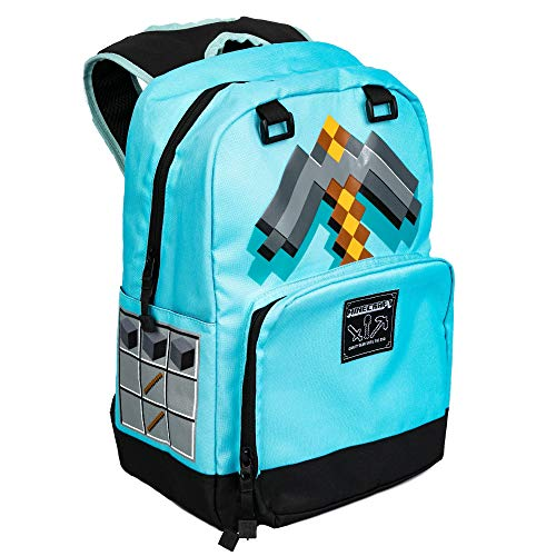 JINX Minecraft Pickaxe Adventure Kids School Backpack, Blue, 17