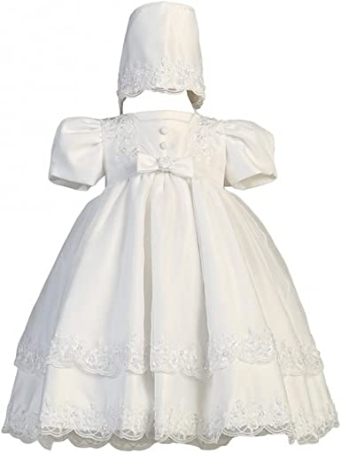 White Satin Christening Baptism Dress with Organza Cape