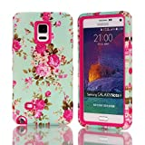 Galaxy Note 4 Case, Firefish [Shock Absorption] Soft Silicone and Hard PC Hybrid Cover [Anti-Slip] Scratch Resistant Protective Case for Samsung Galaxy Note 4 - Rose Red