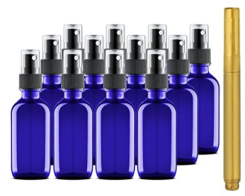 Culinaire 12 Pack Of 2 oz Blue Glass Bottles with Spray Tops and Gold Glass Pen
