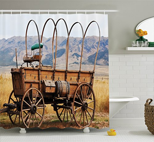 Western Decor Shower Curtain Set by Ambesonne, Photo of Old Nostalgic Aged Wild West American Cart Carriage in the Farm Texas Style, Fabric Bathroom Set with Hooks, 69W X 70L Inches, Brown and (Old Western Decor)