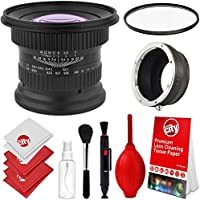 Opteka 15mm f/4 LD UNC AL 1:1 Macro Wide Angle Manual Full Frame Lens + UV for Olympus OM-D E-M1, E-M5, E-M10, PEN E-PL7, E-P5, E-PL5, E-PM2, E-P1, P2, PL1, PL1s and PL2 Digital Cameras (EOS-M43)