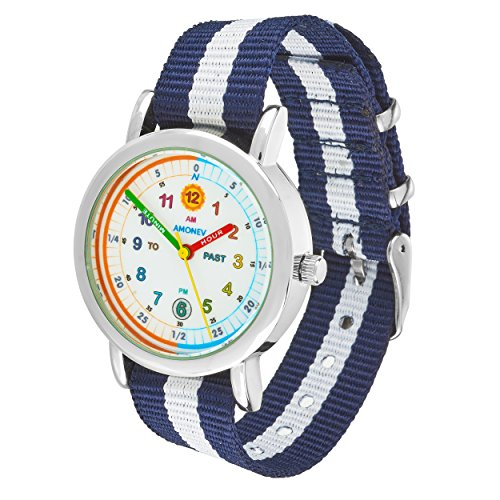 Amonev Time Teacher Watch its Blue and White Strap Colorful Easy to Read dial is The Perfect Kids Watch (Blue White)
