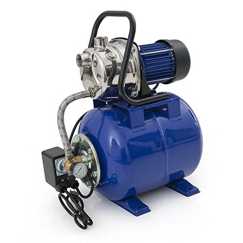 ARKSEN 1.6HP 1″ Shallow Well Electric Garden Pump w/Booster Type, Stainless Steel Housing, Steel Tank, Blue