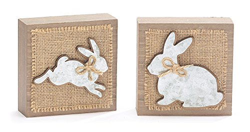 Wooden and Burlap Spring Easter Bunny Silhouette Shelf Sitter Blocks, Set of (Easter Bunny Silhouette)