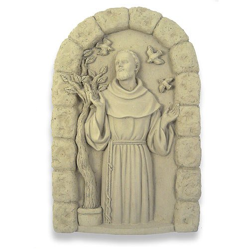 Modern Artisans Saint Francis of Assisi Concrete Garden Plaque
