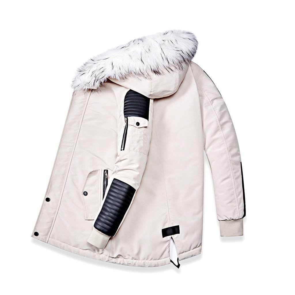 Redacel Fashion Men's Fur Collar Hooded Warm Fleece Lined Jackets and Spliced Padded Long Coats (White,L) by Redacel