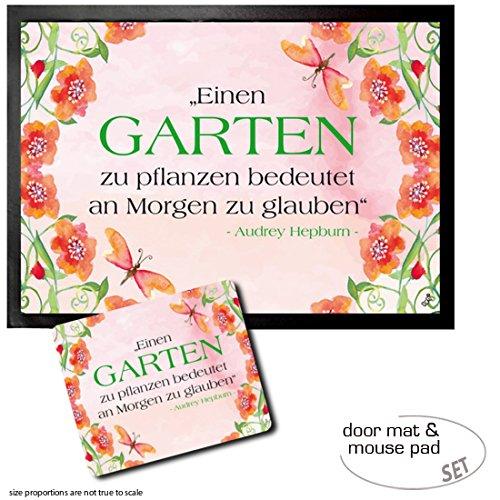 Set: 1 Door Mat Floor Mat (28x20 inches) + 1 Mouse Pad (9x7 inches) - Audrey Hepburn, Einen Garten Zu Pflanzen Bedeutet An Morgen Zu Glauben