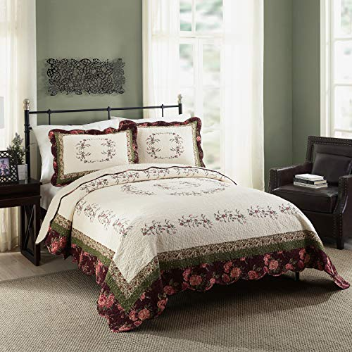 Modern Heirloom Collection Brooke Quilt Set, Full Queen, Red