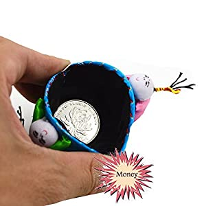 HUELE 6-PACK Dumpling shaped Silk embroidery jewelry pack bags Chinese Silk Coin Purse Pouch Set