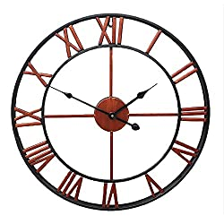 Retro Wall Clock 16 Inch Red Metal Iron Antique 3D Roman Numerals Battery Operated Silent Non Ticking Home Decor Clock (Antique red)