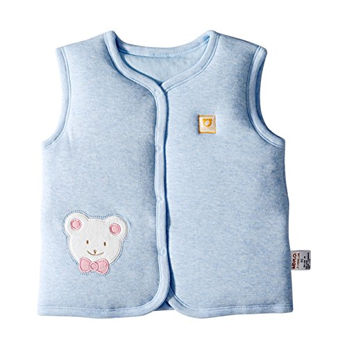Monvecle Baby Organic Cotton Warm Vests Unisex Infant to Toddler Padded Waistcoat Blue Bear 18-24M - Blue Coat Bear Toddler Child Costumes